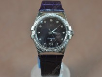 オメガOmega Constellation Ladies SS/Dia/LE Dark Purple Swiss Ronda Quartzクオーツ