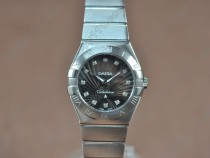 オメガOmega Constellation 28mm SS Black dial Swiss ronda クオーツ