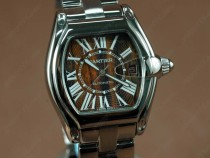 カルティエCartier Limited Ed Roadster SS/Wood Black Roman Swiss Eta 2824自動卷
