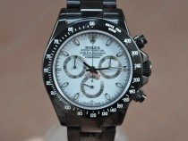 ロレックスRolex Daytona Full PVD White dial Asian 7750 Secs@ 6.00自動巻き