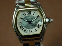 カルティエCartier Men Roadster TT White (Small Roman) Swiss 2824-2自動巻