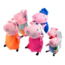 6Pcs Peppa Pig Plush Doll Toys Family Set Grandma Grandpa Pig + Daddy Mummy Pig + Pepe & George Pig For Kids Gift