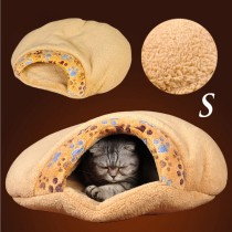 Cute Little Paw Printing Thick Soft Shu Velveteen Pet Cat Sleeping Bag Bed Cushion(Size S)