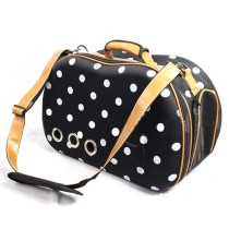 White Polka Dot Pattern Pet Dog Cat Puppy Carrier Bag Shoulder Bag - Black