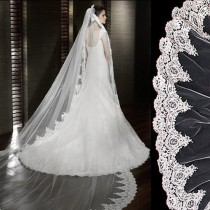 3 Meter Long Single-layer Embroidery Lace Edge Bridal Wedding Veil