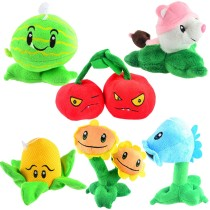 6PCS Plants VS Zombies Short Plush Toys Dolls Set