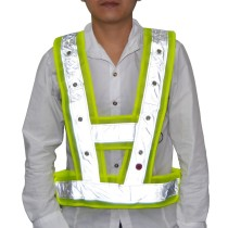 Reflective Safety Vest with 16 Red LED Flashing Lights One Size