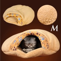 Cute Little Paw Printing Thick Soft Shu Velveteen Pet Cat Sleeping Bag Bed Cushion(Size M)