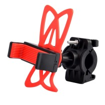 Universal Motorcycle Bike Handlebar Mount Holder with Silicone Band for Cell Phone - Red + Black