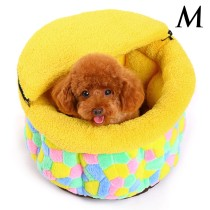 Cute Colorful Grid Non-slip Warm Shu Velveteen Pet Dog Cat Bed Nest House with Zipper Removable Half Cover (Size M)