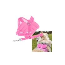 Angel Wing Pet Dog Cat Mesh Harness with Leash - Pink (Size M)