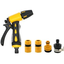 5Pcs High Pressure Car Garden Washing Cleaner Garden Hose Nozzle Hand Sprayer with Pacifier Universal Joint - Yellow + Black
