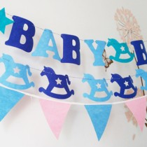 "Birthday Banner ""Babyboy"" Letters Hanging Banner Party Decor Photo Backdrop with 3M Ribbon - Blue"