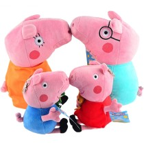 4Pcs Peppa Pig Plush Doll Toys Family Set Daddy Mummy Pig + Pepe & George Pig For Kids Gift