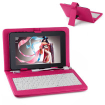 Universal PU Leather Keyboard Case for 7 Inch Tablet PC - Rose Red