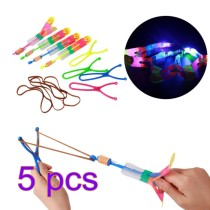 5Pcs Large LED Light Slingshot Elastic Arrow Rocket Helicopter Flying Toy Party Fun Gift - Color Random
