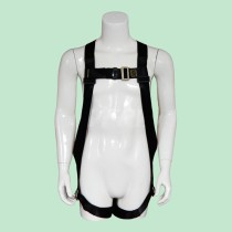 Fall Protection Universal Construction Safety Harness with Leg Tongue Buckle Straps and Side D-Rings - Black