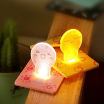 Cartoon Face Folding Bulb LED Card Light Night Light Energy Saving Lamp Holiday Gifts Party Supplies - Random Delivery