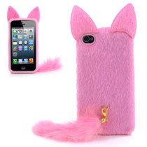 Tanuki Protective Fur Case Back Cover with a Furry Tail  - Pink