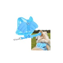 Angel Wing Pet Dog Cat Mesh Harness with Leash - Blue (Size L)