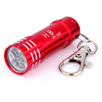 Portable 3-LED Mini Flashlight Keychain - Red