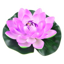 18cm Water Lilies Artificial Pond Plants EVA Real Touch Flower for Home or Party Decoration - Purple