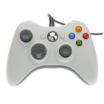 Video Game Wired USB Controllers Gamepad for PC XBO X360 Hand Shank Rein - White