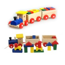 Three Section Pull Along Train with Building Blocks Children Baby Educational Wooden Toys