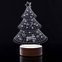 US Plug TD-018 Transparent Acrylic 3D Stereo Luminous Glow Plates Led Light Desk Lamp - Christmas Tree