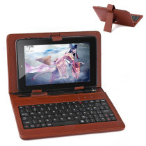 Universal PU Leather Keyboard Case for 7 Inch Tablet PC - Brown