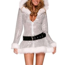Women's Sexy Deep V Lingerie Ladies Christmas Costume Plush Bling Sequins Dress Hoodie with Fashion Belt