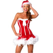 Women's Sexy Strapless Bow Detail Lingerie Lady Christmas Costume Red Velvet Dress with Sweet Santa Hat M Size