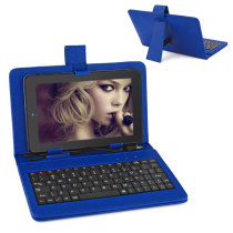 Universal PU Leather Keyboard Case for 7 Inch Tablet PC - Blue