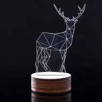US Plug TD-018 Transparent Acrylic 3D Stereo Luminous Glow Plates Led Light Desk Lamp - Deer