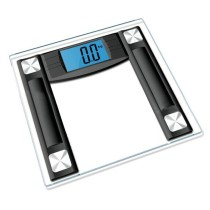 BS-604 Tempered Glass Precision Digital Bathroom Scale with 4.3 Inch Blue Backlight LCD Display, 400 lb/180kg Capacity