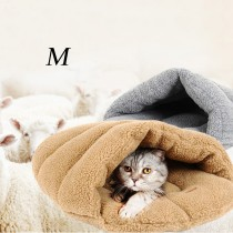 Warm Lamb Wool Slipper Shape Pet Cat Bed(Size M)
