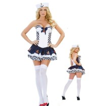 Sexy Marine Sailor Navy Girl Costume Dress Full Set for Halloween Party Size Large