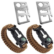 2Pcs Stainless Steel Multifunction Survival Pocket Tool Card + 2Pcs Outdoor Survival Bracelet Paracord Survival Gear
