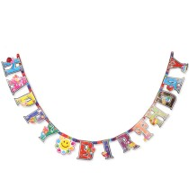 Happy Birthday Hanging Banner with Gift Pattern Party Decor Photo Backdrop with Ribbon - Color Random