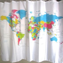 World Map Waterproof Polyester Shower Curtain with 12 C-shaped Plastic Hooks
