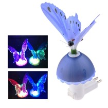 Butterfly Optic Fiber Color Changing LED Light Sensor Nightlight Auto-induction Wall Lamp (US Plug) - Blue