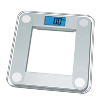 EBS1024 Tempered Glass Precision Digital Bathroom Scale with Blue Backlight LCD Display, 400 lb/180kg Capacity and Step-On Technology