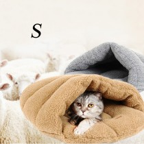 Warm Lamb Wool Slipper Shape Pet Cat Bed(Size S)