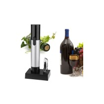 Rechargeable Corkscrew Wine Opener with Infrared Thermometer - Black + Silver