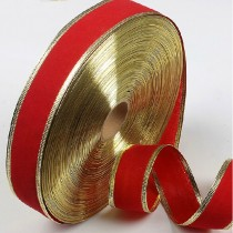 Red with Gold Edges Christmas Tree Decoration Ribbon 2 Meters 5cm Width