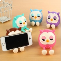 2-In-1 Function Retractable Foot Cartoon Owl Phone Stand Holder Piggy Bank - Random Color