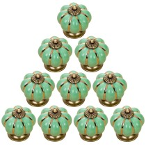 10Pcs Kitchen Pumpkin Handles Pull Drawer Knobs Ceramic Cabinet Door Pull Knobs Set - Green