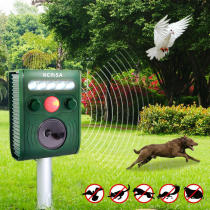 KCASA KC-JK369 Garden Ultrasonic PIR Sensor Solar Animal Repeller Strong Flash Light Bird Repel