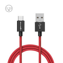 BlitzWolf® BW-TC1 3A USB Type-C Braided Charging Data Cable 3.33ft/1m With Magic Tape Strap