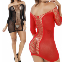 Sexy Erotic Fishnet Perspective Bodystocking Off-sholder Hollow Out Lingerie Nightdress